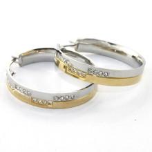 Einfacher Reifen 316 Edelstahl Diamant Ohrring für Frauen