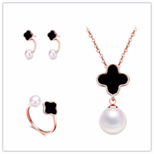 Best gift for women earring ,ring,pendant set clover and pearl jewelry set