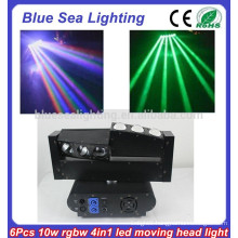 2015 6 x 10W RGBW 4-in-1 led mini moving head stage lighting