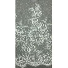 Marfim Chantilly Tecido de renda Tecido de cortina Tecido Bordado Manteiga de renda CTC397-T09