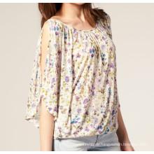 100% Viskose Druck Stoff Mode Großhandel Benutzerdefinierte Mädchen Top