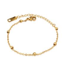 Stainless Steel Dainty Mini Spheres Bead Thin Chain Bracelet For Women Girls