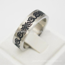 Vintage floral aço inoxidável esmalte anéis para homens
