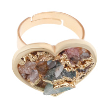 18K 골드 컬러 Natural Heart Drusy Crystal Rings