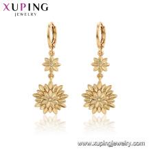 96996 xuping moda banhado a ouro flor sem brincos de pedra para as mulheres