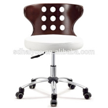 Top grain white genuine leather office plywood chair