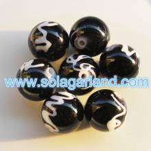 黒と白ロットバラシ分厚いビーズ ラウンド 10 MM ヴィンテージ プラスチック