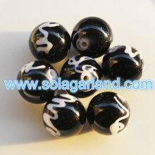 10MM Vintage Plastic Round Black And White Drawbench Chunky Beads