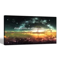 Arte da parede da lona do céu nocturno estrelado / Cópia da lona do cenário da lua cheia / pintura da lona da paisagem
