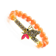Red Aventurine Gemstone Bracelet with Diamante Butterfly Piece