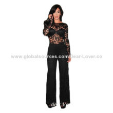 Long Sleeve Lace Jumpsuit, Made of Polyester + Spandex, Available in Various Sizes