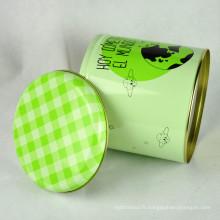 Boîte ronde bigarrée de qualité alimentaire, Boîte ronde grande en métal, Grande boîte ronde
