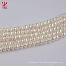 Pieds naturels de perles d'eau douce de 8-9mm, boutons ronds