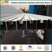 TP304 stainless steel square single slot pipes for frame of heavy curtain
