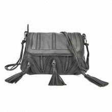 Fashion Black Synthetic Leather Shoulder Bags, Decorated with Tassels and Zippers