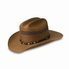 Western Cowboy Hat in Fashionable Design, Made of Natural Paper Straw, OEM Orders are Welcome