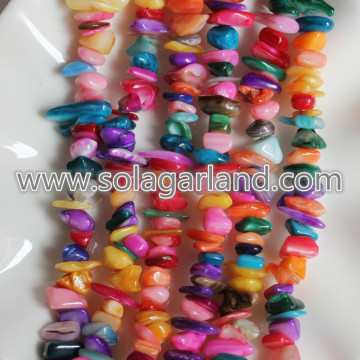 31Inch Strand Natural Dyed Colorful Shell Chips Freeform