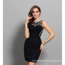 Nail Bead Evening Dress with High Collar Black Dress