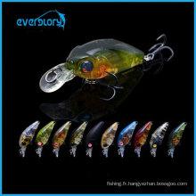 Mini appâts à manivelle de pêche 3.5g 35mm leurres durs de pêche avec crochets en acier noir Bkk pour attraper la dorade de mer noire