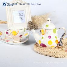 Impression chêne osseuse Fleur Fine céramique Ensemble de thé de l'après-midi
