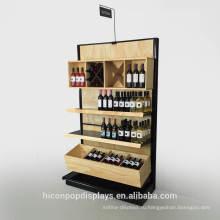 Оптовый магазин 3 ярус Бамбук металл красное вино держатель стойки деревянные полки супермаркета shelving гондолы для продажи