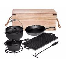 Juego antiadherente de utensilios de cocina de hierro fundido para barbacoa, pan y olla, 7 piezas