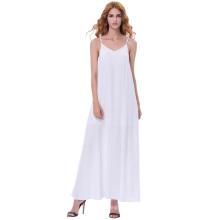 Kate Kasin Sexy Mujer Verano Casual suelta correa de espagueti V-cuello Maxi vestido blanco KK000700-1