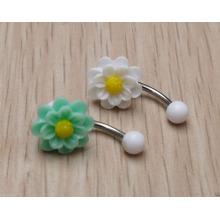 Été Handmade Daisy Flower Bague à ventre Bague Piercing Piercing Bijoux