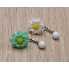 Summer Handmade Daisy Flower Belly Button Ring Navel Piercing Body Jewelry
