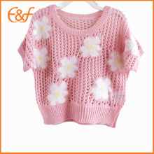 Handmade Crocheted Girls Flower Designs Knitted Sweater For Baby Girls