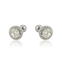 E-597 Xuping Fashion Jewelry  Rhodium color simple design Synthetic CZ studs earrings