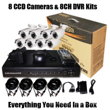 8 CCD y registrador del kit del CCTV de DVR (SV60-DK08W242)