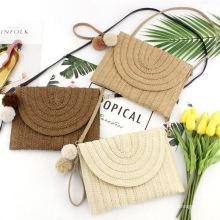 Straw Clutch Women Handmade Straw Crossbody Bag Summer Beach Envelope Purse Wallet
