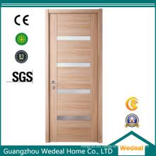 Puerta interior de chapa de madera moderna simple con vidrios