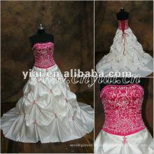 JJ2850 бисером Красный Топ длинный шлейф ленты вышивка свадебное платье 2013