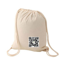 Handmade White Drawstring Backpack Cotton Bags With Logo