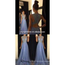 Venta al por mayor una línea de vestido de noche damas moda encaje rebordear vestido de baile de fin de curso 2017