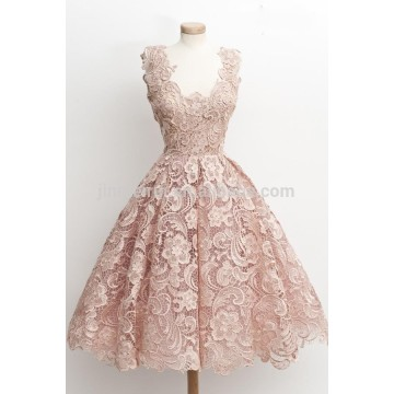 Vestidos de Formatura Sweety Pink Square Lace Prom Dresses 2016 Sleeveless Knee Length Homecoming Dresses Vestidos De Coctel