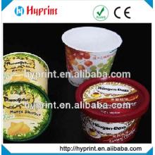 étiquettes personnalisées en plastique moule autocollant pour coupe de crème glacée