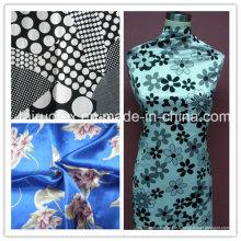100% polyester imprimé satin pour les femmes