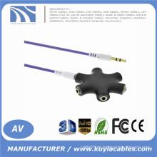 Hochwertiger 3.5mm Multi Kopfhörer Kopfhörer Audio HUB Splitter 1 Stecker auf 2 3 4 5 Female Port mit Aux Kabel Neu