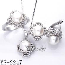 Стерлингового серебра ювелирные изделия культивированный жемчуг Set 925 Silver (YS-2247)