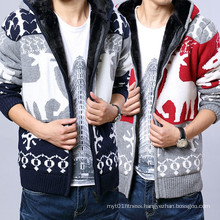 Cheap Autumn Fleece Deer Pattern Warm Men Sweater