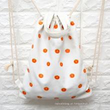 saco de mochila de cordão de lona de algodão personalizado