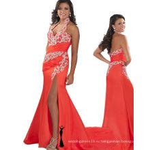 Оранжевый Холтер backless pageant платье вечернее платье со стразами RO11-20