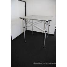 Calidad aluminio ligero Picnic Camping al aire libre Portable plegable mesa muebles (QRJ-Z-002)