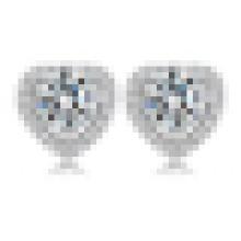 Women′s Fashion 925 Sterling Silver Heart-Shaped Crystal Earrings
