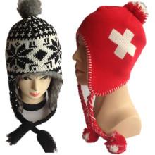 2016 Nouvel ordinateur de cercle chaud double couche croix Logo Jacquard Red Earflap hiver Jacquard tricoté chapeaux pour fournisseur