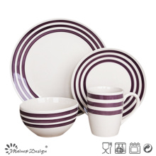 16PCS Ceramic Dinner Set with Purple Color Hand Painted Design