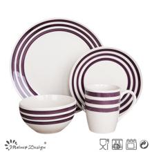 16PCS Ceramic Dinner Set with Purple Hand Painted Circle